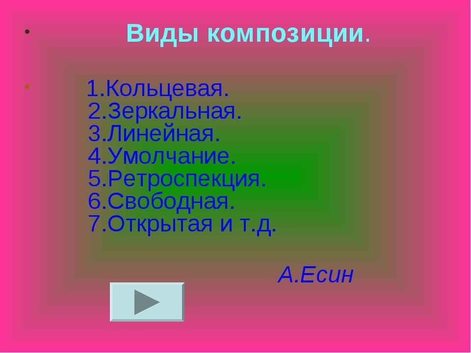 Виды композиции. 1.Кольцевая. 2.Зеркальная. 3.Линейная. 4.Умолчание. 5.Ретро...