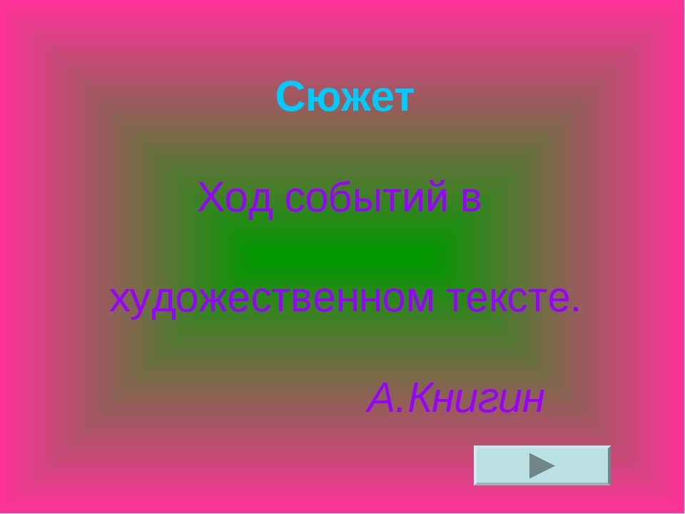 Сюжет Ход событий в художественном тексте. А.Книгин