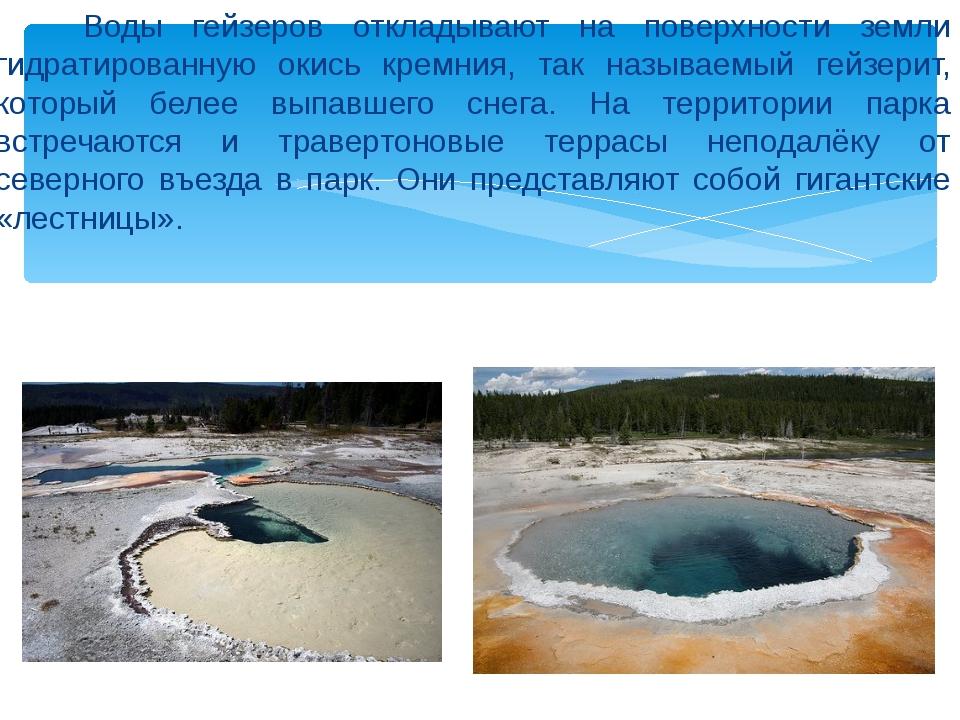 Воды гейзеров откладывают на поверхности земли гидратированную окись кремния...