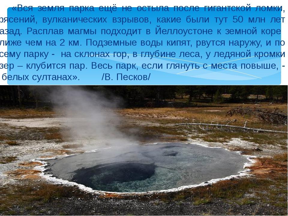 «Вся земля парка ещё не остыла после гигантской ломки, трясений, вулканическ...