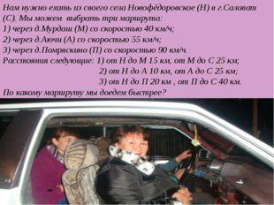 Нам нужно ехать из своего села Новофёдоровское (Н) в г.Салават (С). Мы можем