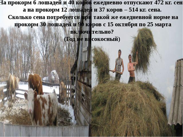На прокорм 6 лошадей и 40 коров ежедневно отпускают 472 кг. сена, а на прокор...