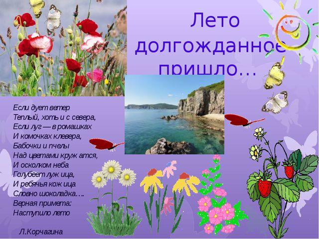 Лето долгожданное пришло… Если дует ветер Теплый, хоть и с севера, Если луг...
