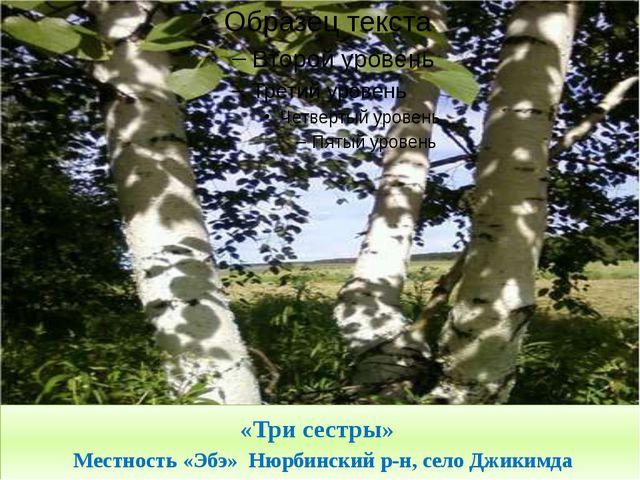«Три сестры» Местность «Эбэ» Нюрбинский р-н, село Джикимда