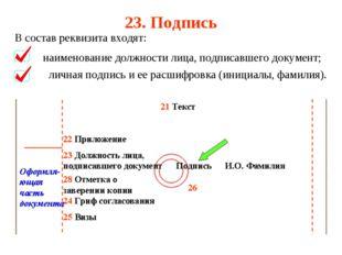 23. Подпись В состав реквизита входят: наименование должности лица, подписавш