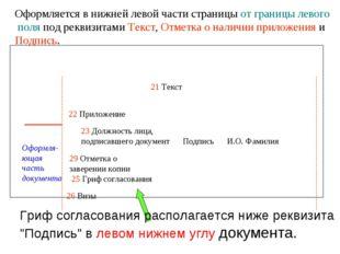 Оформляется в нижней левой части страницы от границы левого поля под реквизит