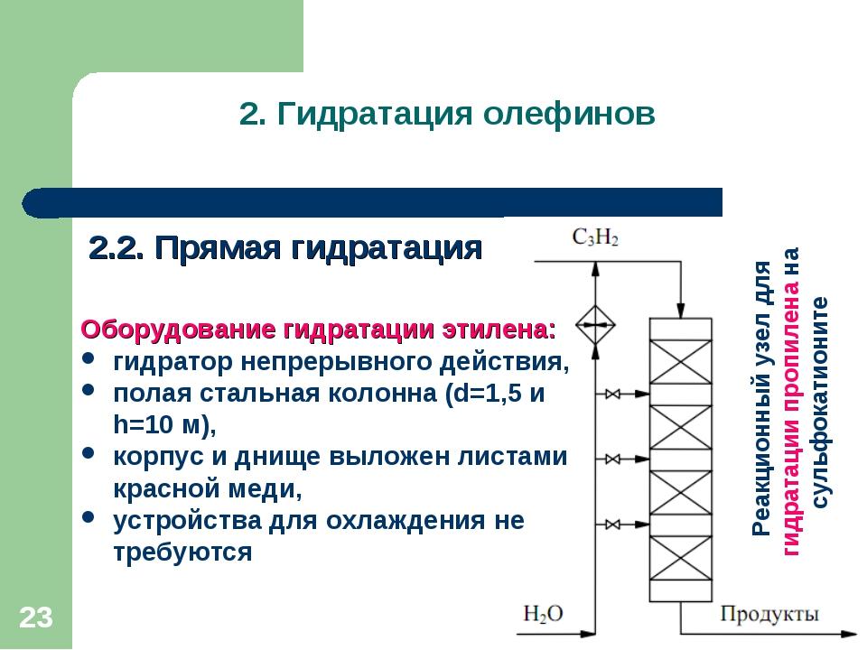 2. Гидратация олефинов 2.2. Прямая гидратация * Оборудование гидратации этиле...