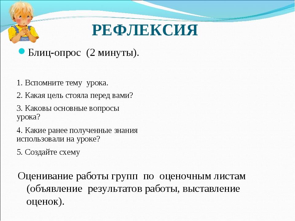 РЕФЛЕКСИЯ Блиц-опрос (2 минуты). Оценивание работы групп по оценочным листам...