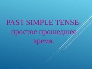 PAST SIMPLE TENSE- простое прошедшее время.