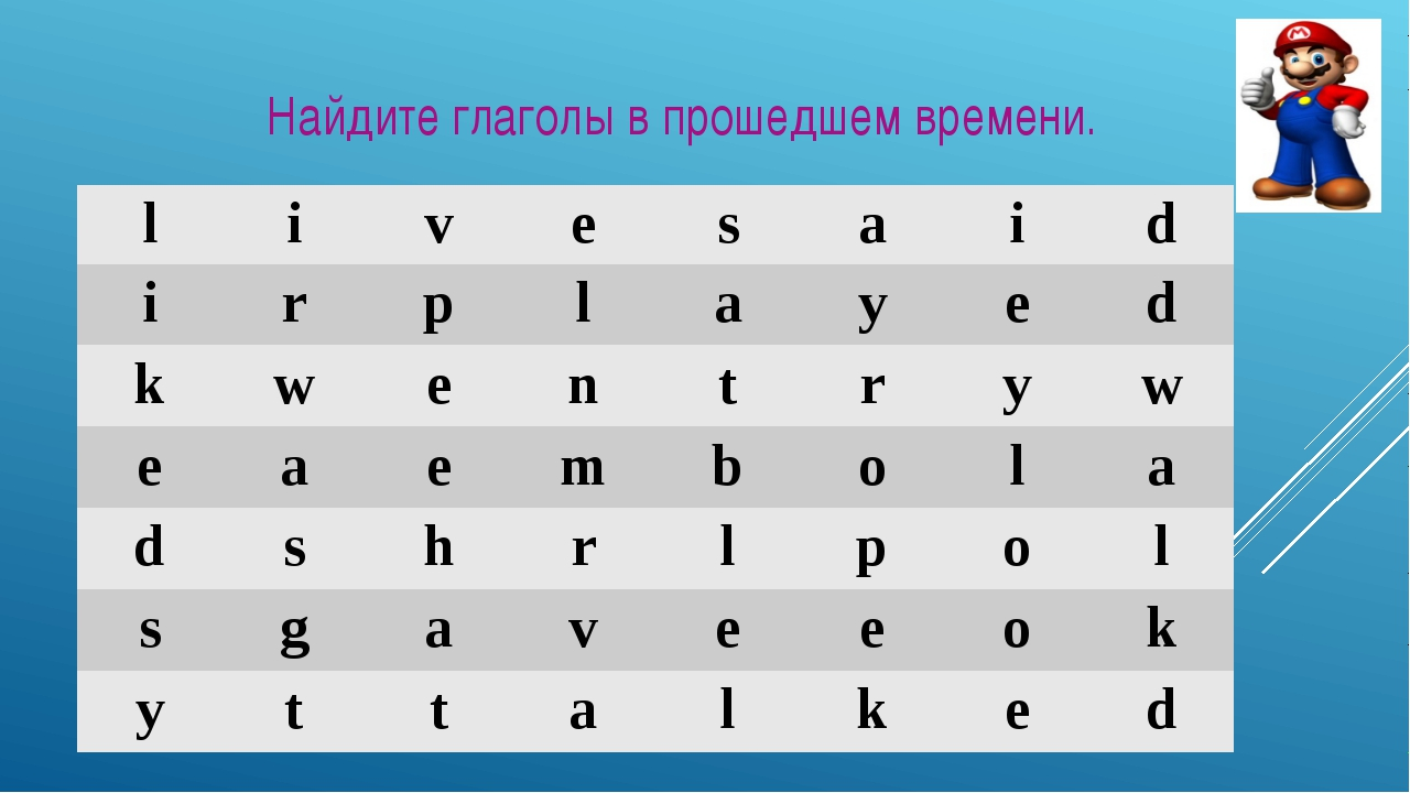 Найдите глаголы в прошедшем времени. l i v e s a i d i r p l a y e d k w e n...
