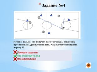 Задание №9 2 1 3 4 5 Игрок 1 владеет мячом на своей половине площадке. Какое