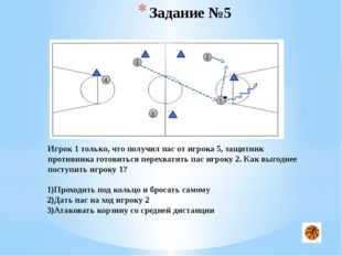 Задание №10 1 2 3 4 5 Игрок 3 владеет мячом на чужой половине площадки. Какое