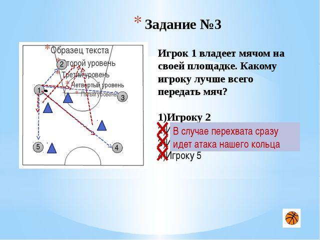 Задание №5 1 4 3 5 2 Игрок 1 только, что получил пас от игрока 5, защитник п...
