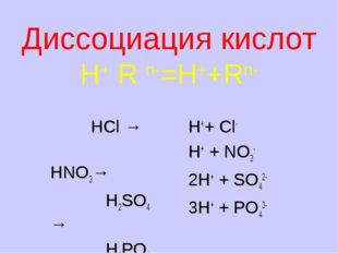 Диссоциация кислот H+ R n-=H++Rn- HCl → HNO3→ H2SO4 → H3PO4 → H++ Cl- H+ + N