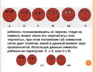 * ребенок, познакомившись со звуком, глядя на символ, может легко его «прочит