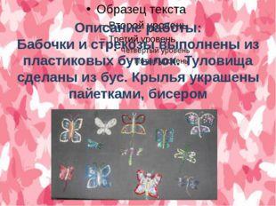 Описание работы: Бабочки и стрекозы выполнены из пластиковых бутылок. Туловищ