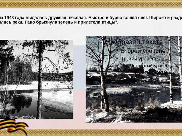 """""""Весна 1943 года выдалась дружная, весёлая. Быстро и бурно сошёл снег. Широк..."""