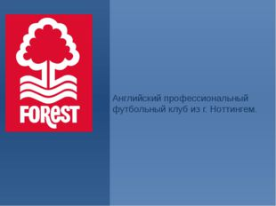 «Но́ттингем Фо́рест». Английский профессиональный футбольный клуб из г. Нотти