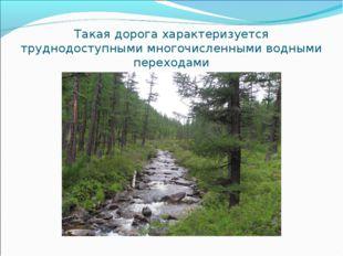 Такая дорога характеризуется труднодоступными многочисленными водными переход