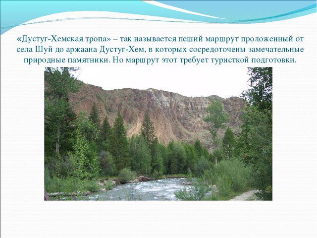 «Дустуг-Хемская тропа» – так называется пеший маршрут проложенный от села Шуй...
