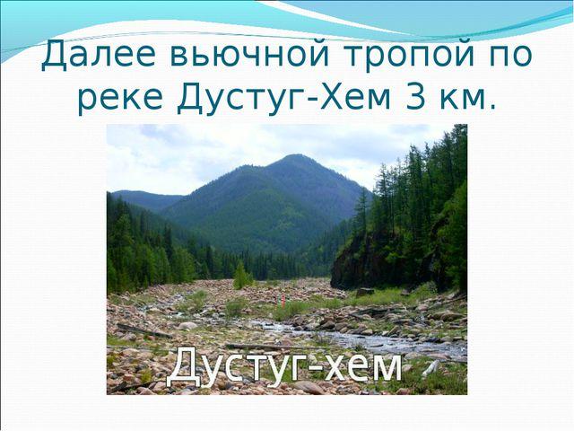 Далее вьючной тропой по реке Дустуг-Хем 3 км.