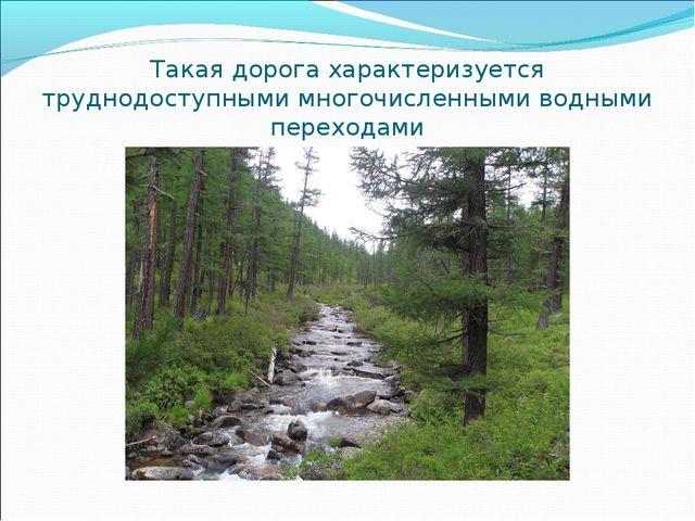 Такая дорога характеризуется труднодоступными многочисленными водными переход...