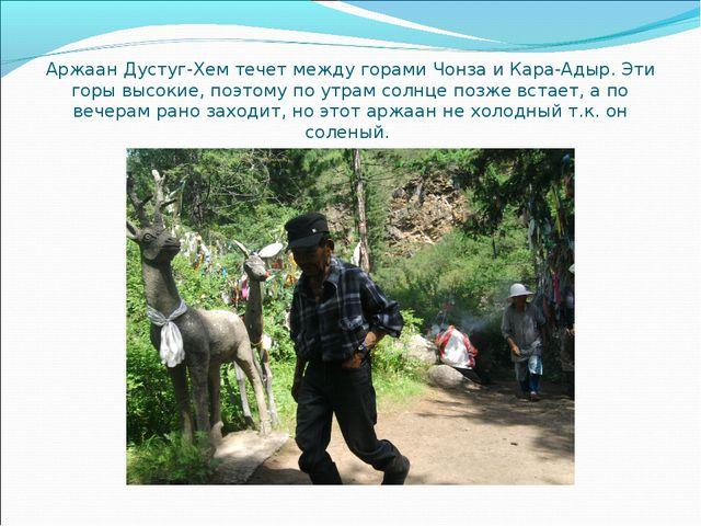 Аржаан Дустуг-Хем течет между горами Чонза и Кара-Адыр. Эти горы высокие, поэ...