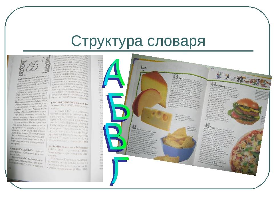 Структура словаря