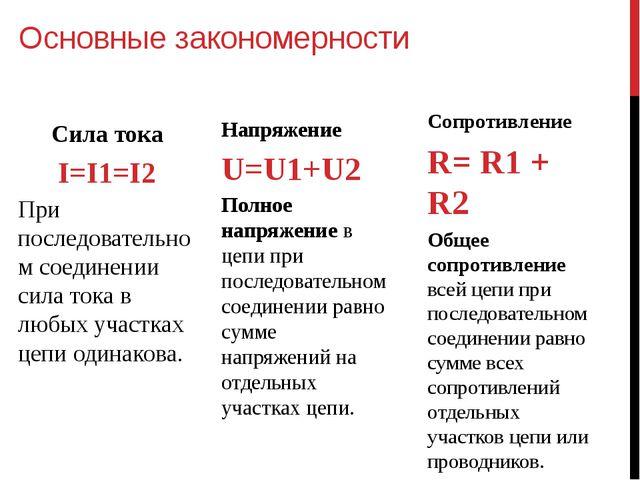 Основные закономерности Сила тока I=I1=I2 При последовательном соединении сил...
