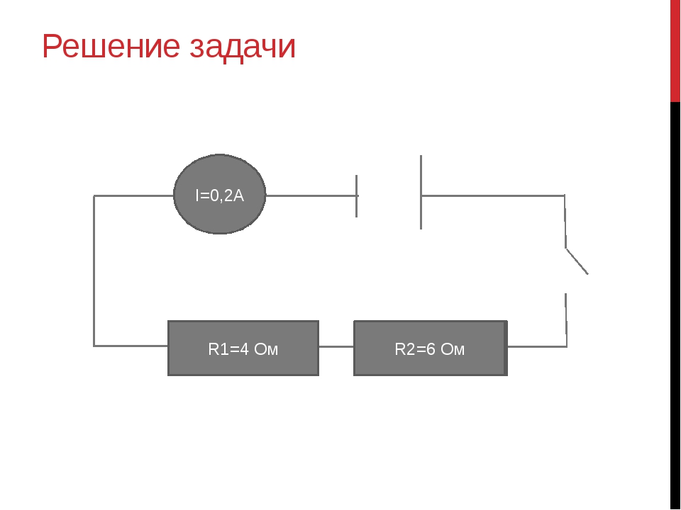 Решение задачи R2=6 Ом R1=4 Ом I=0,2A