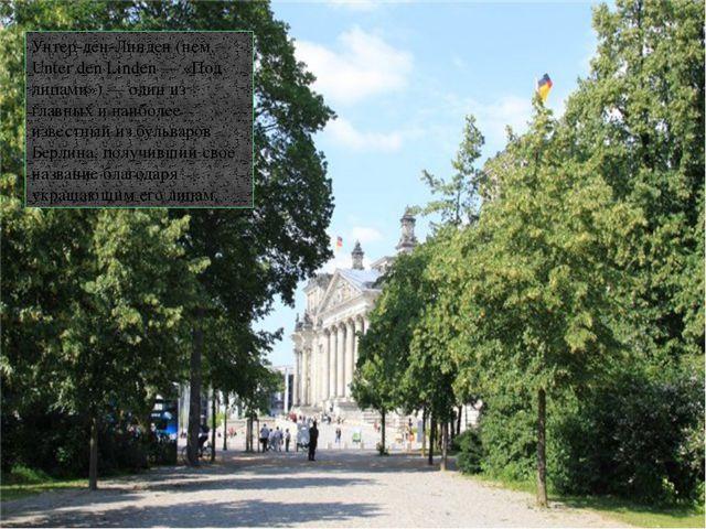 Унтер-ден-Линден (нем. Unter den Linden — «Под липами») — один из главных и н...
