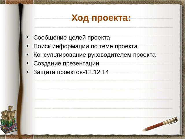 Ход проекта: Сообщение целей проекта Поиск информации по теме проекта Консуль...