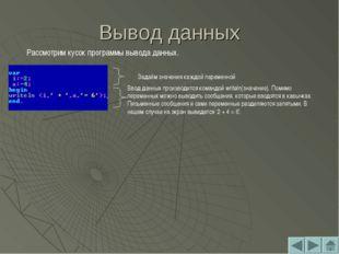 Вывод данных Рассмотрим кусок программы вывода данных. Задаём значения каждой