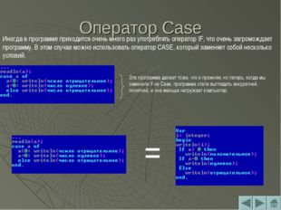 Оператор Case Иногда в программе приходится очень много раз употреблять опера