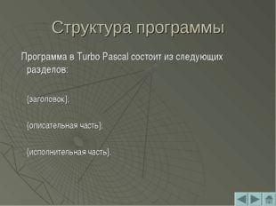 Структура программы Программа в Turbo Pascal состоит из следующих разделов: {