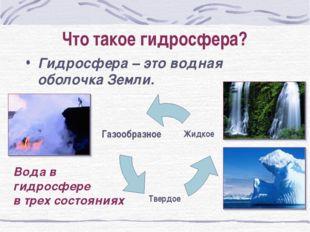 Что такое гидросфера? Гидросфера – это водная оболочка Земли. Вода в гидросфе