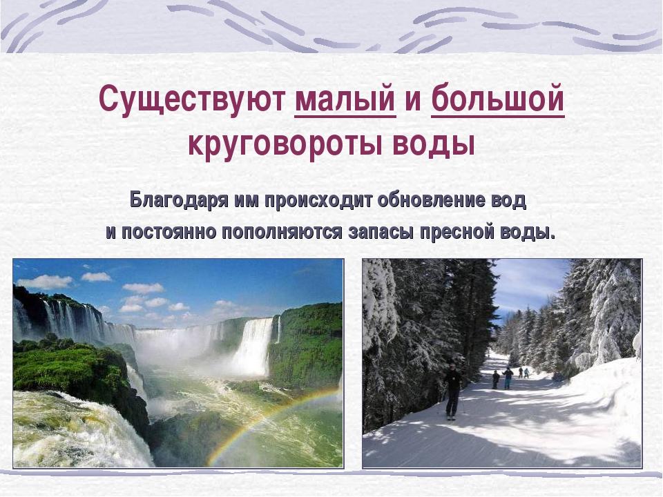 Существуют малый и большой круговороты воды Благодаря им происходит обновлени...