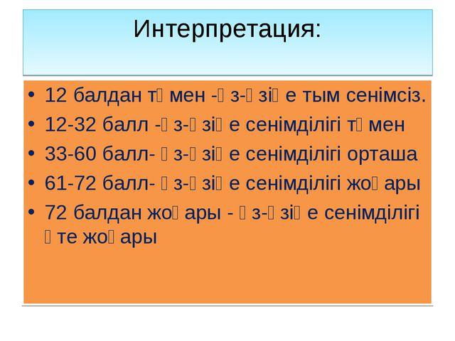 Интерпретация: 12 балдан төмен -өз-өзіңе тым сенімсіз. 12-32 балл -өз-өзіңе с...