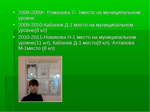 2008-2009г- Романова С- 1место на муниципальном уровне 2009-2010-Кабанов Д-1