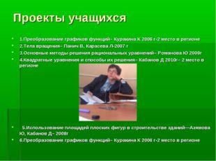 Проекты учащихся 1.Преобразование графиков функций– Куракина К 2006 г-2 место