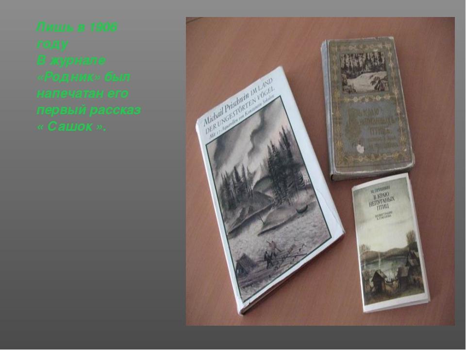 Лишь в 1906 году В журнале «Родник» был напечатан его первый рассказ « Сашок ».