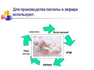 Для производства пастилы и зефира используют: