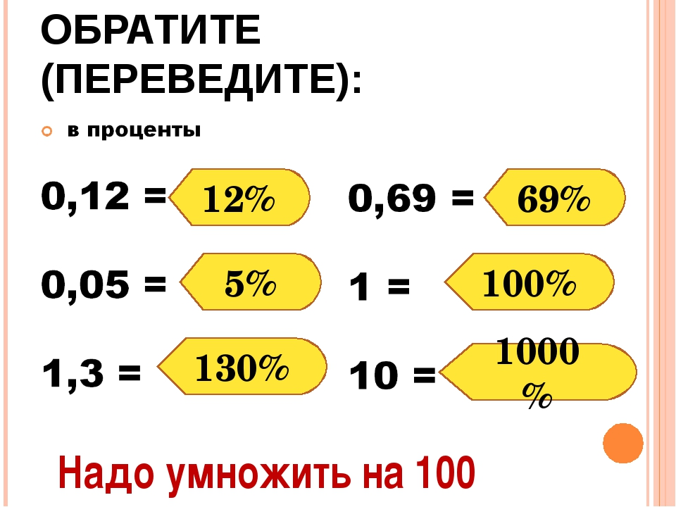 ОБРАТИТЕ (ПЕРЕВЕДИТЕ): 12% 5% 130% 69% 100% 1000% Надо умножить на 100