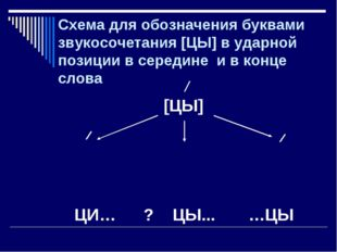 Схема для обозначения буквами звукосочетания [ЦЫ] в ударной позиции в середин