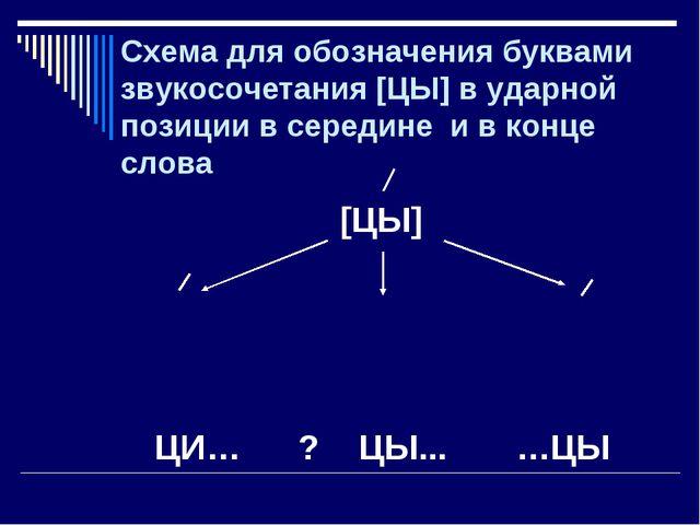 Схема для обозначения буквами звукосочетания [ЦЫ] в ударной позиции в середин...