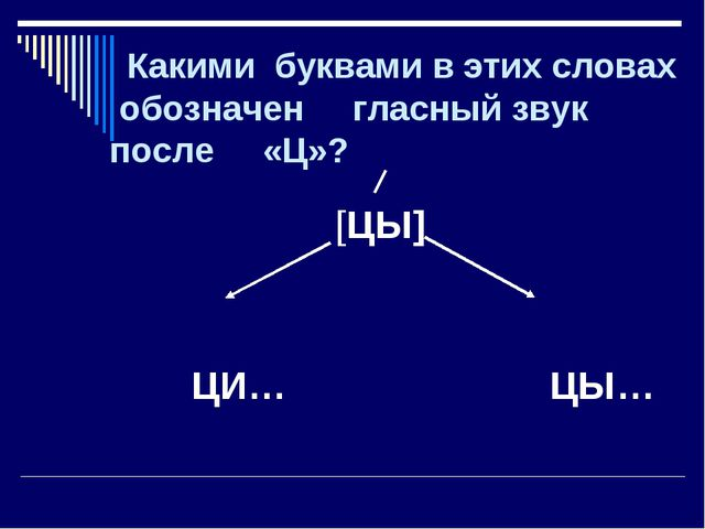 Какими буквами в этих словах обозначен гласный звук после «Ц»? [ЦЫ] ЦИ… ЦЫ…