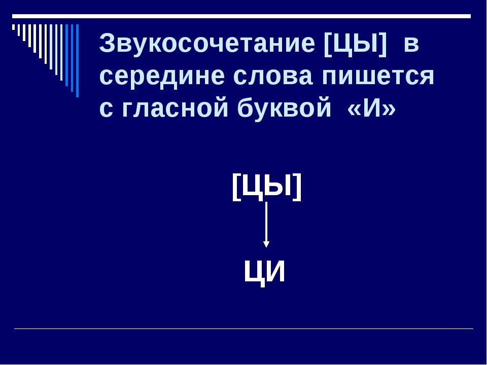 Звукосочетание [ЦЫ] в середине слова пишется с гласной буквой «И» [ЦЫ] ЦИ