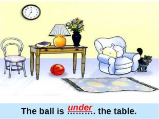 The ball is ………. the table. under
