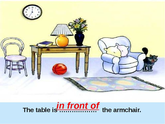 The table is ……………… the armchair. in front of