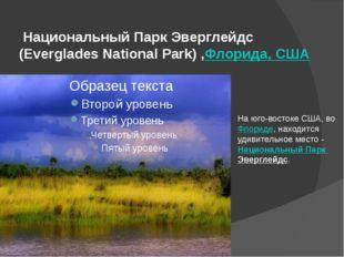 Национальный Парк Эверглейдс (Everglades National Park) ,Флорида, США На юго
